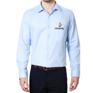 Embroidered Office Shirt Sky Blue Front-