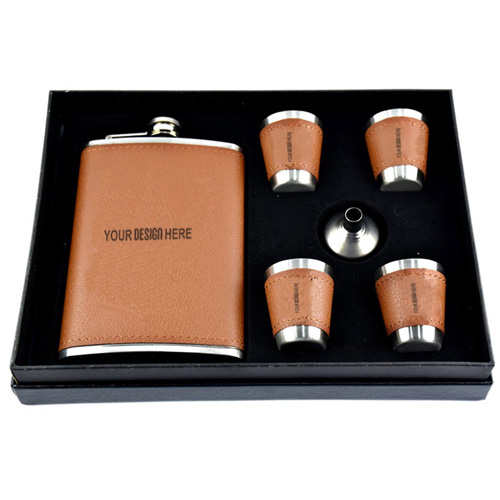 Customized Hip Flask Stitched Leather Set of 6