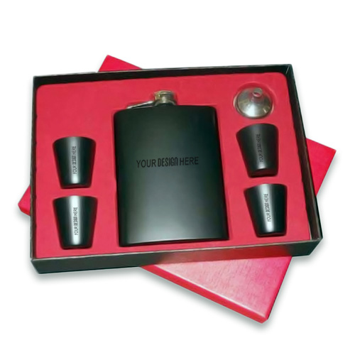 Unique Matte Black Hip Flask Combo Set Of 6