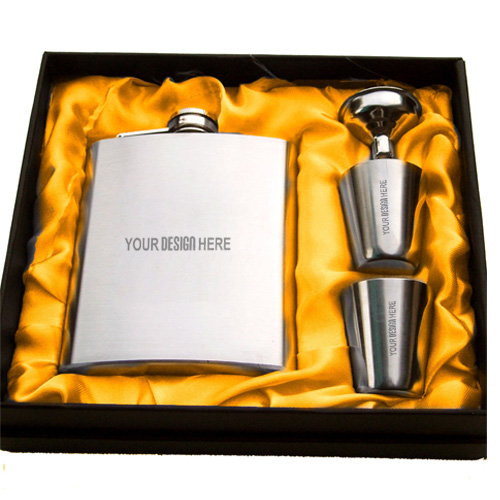 Stainless Steel 4 piece Hip Flask with Shot Glasses Combo
