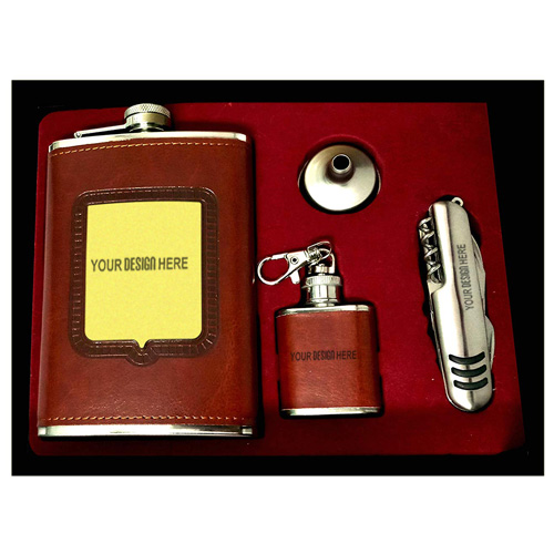 Stainless Steel Leather Covered Hip Flask
