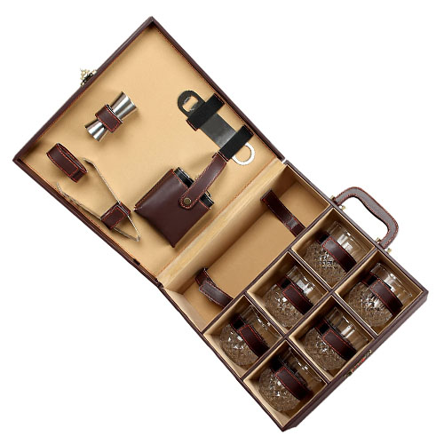 Personalized Portable Leatherette Briefcase Bar Set