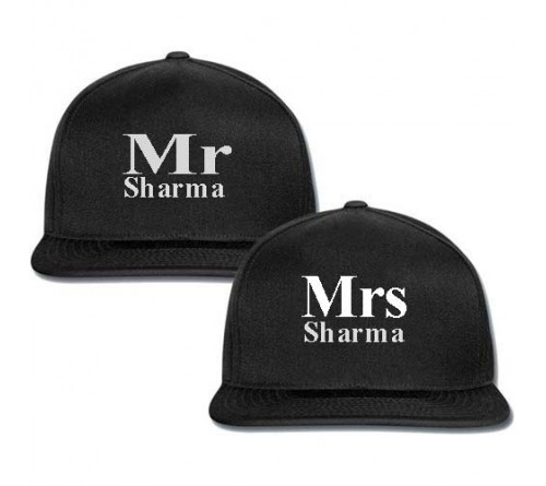 customized black color couple cap