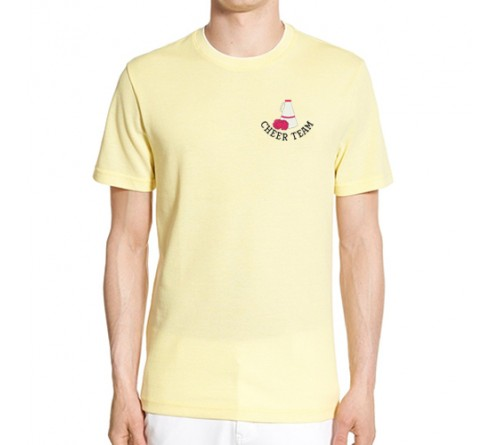 Embroidered Mix Cotton Round Neck T Shirt Light Yellow