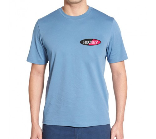 Embroidered Mix Cotton Round Neck T Shirt Sky Blue