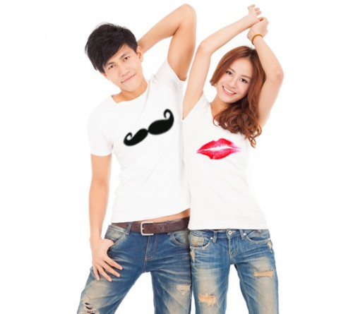 customized white color couple t shirt