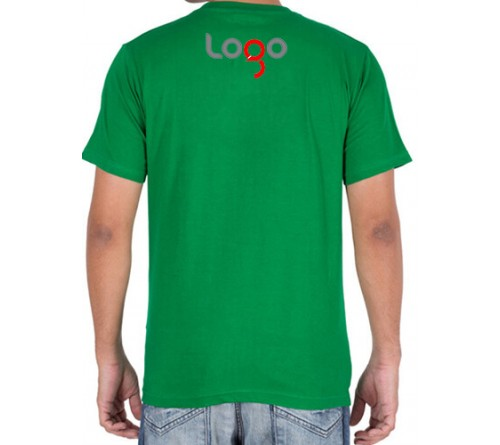 Printed Cotton Crew Neck T Shirt Green