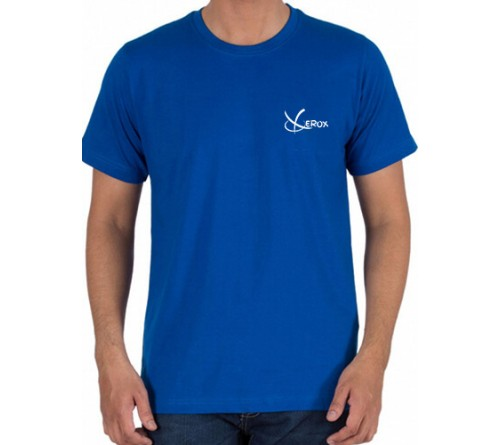 Printed Cotton Crew Neck T Shirt Royal Blue