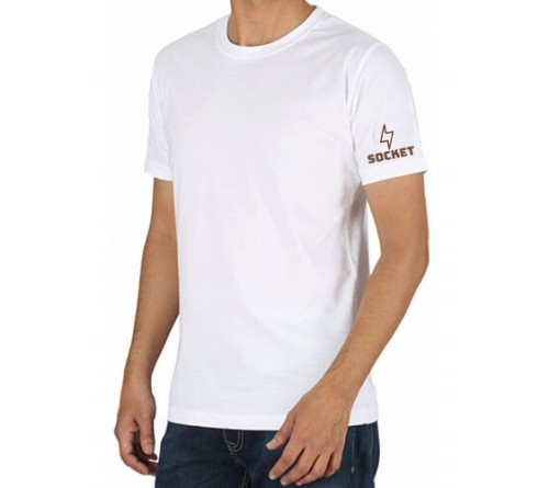 Printed Cotton Crew Neck T Shirt White