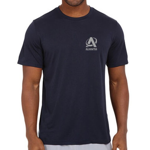 Printed Dri Fit Round Neck T Shirt Navy