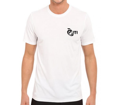 Printed Dri Fit Round Neck T Shirt White
