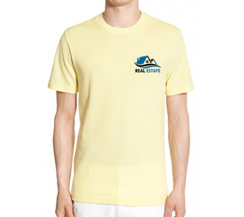 Printed Blended Fabric Crew Neck T Shirt Light Yellow