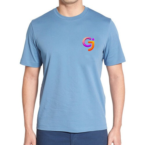 Printed Blended Fabric Crew Neck T Shirt Sky Blue