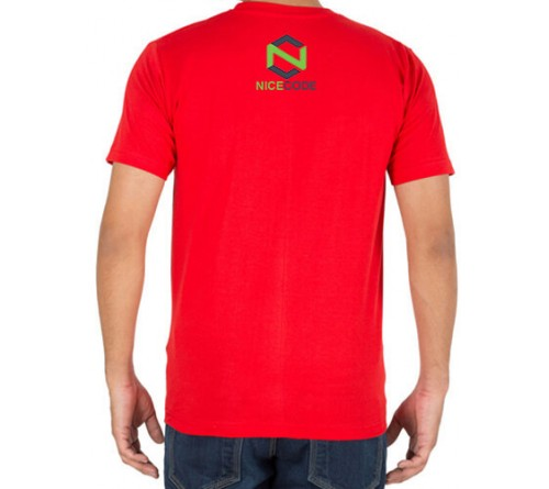 Embroidered Cotton Crew Neck T Shirt Red