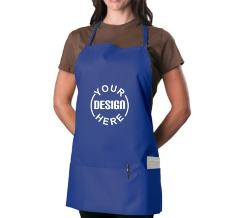 Custom 3 Pocket Bib Apron Blue