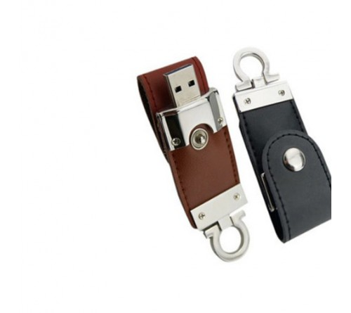 Leather Keychain with Pen Drive