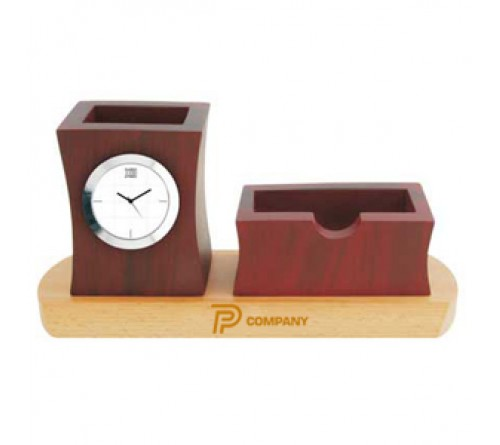 Wooden Desk Stand with Clock