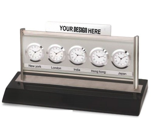 Five World Time Zone Desk Clock