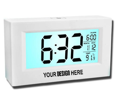 Large Sensor Clock with Backlight and Temperature