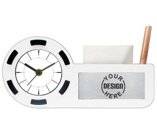 Office Clock Desk Organizer