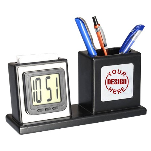 Wooden Table top with LED Clock