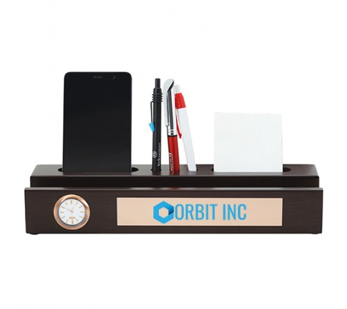 Desk Organizer With Table Clock And Mobile Stand