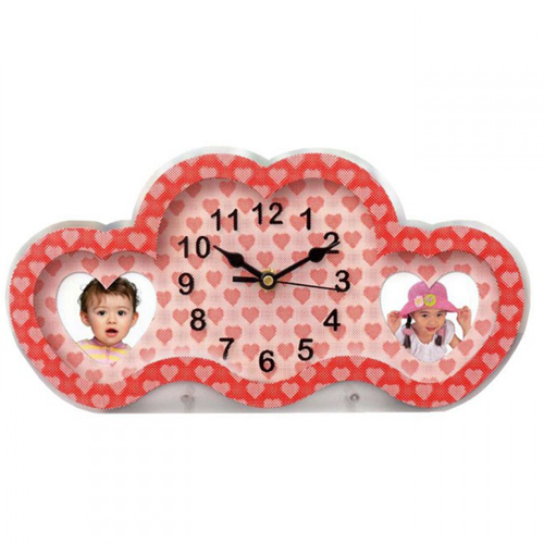 Heart Style 3d Illusion Clock with Dual Photo Frame