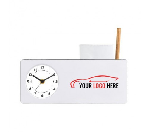 Personalised Table Clock with Pen Stand