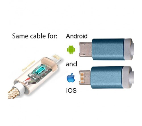 2 Side Cable for Android plus IPhone