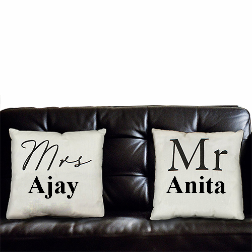 customized cushion mr and mrs printed