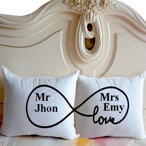 white cushion cover name printed