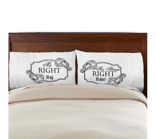 mr and mrs right printed cushion