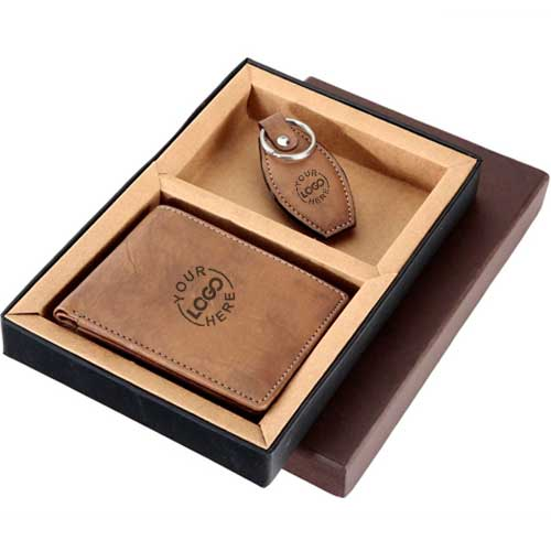 Leather Wallet and Key Chain Gift Set