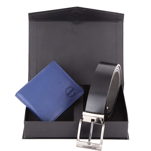 Blue Men's Wallet with Belt Combo