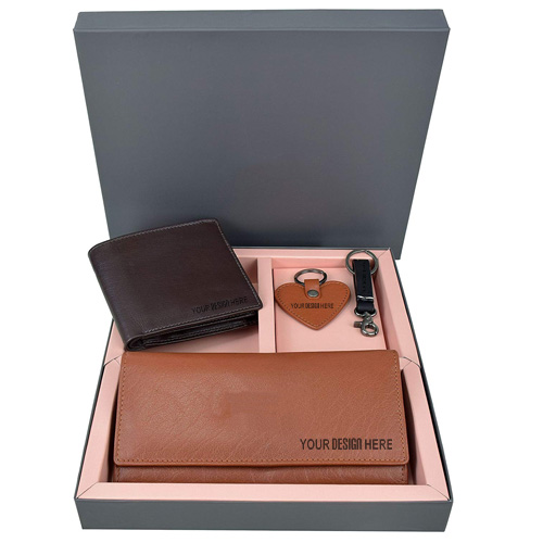 Brown Wallet Combo Gift Set for Women Men