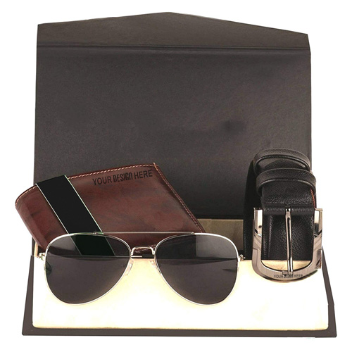 Men's Leather Belt Wallet with Sunglasses Combo