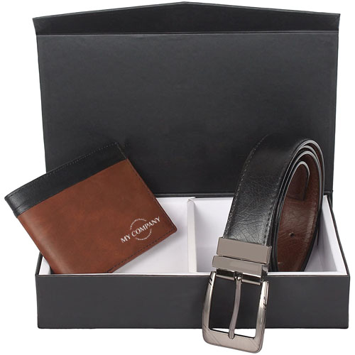 Brown Wallet & Black Belt Gift Set For Men