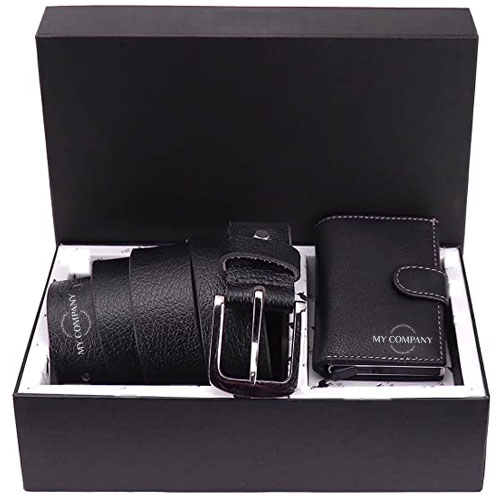Men's Leather Card Holder and Formal Belt Combo Gift Set