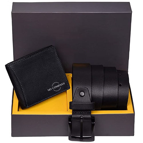 Personalized Leather Wallet & Belt Combo Gift Set for Men