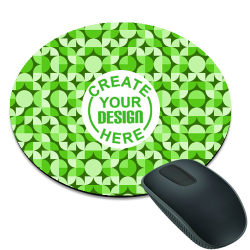 Green Pattern Round Mouse Pad