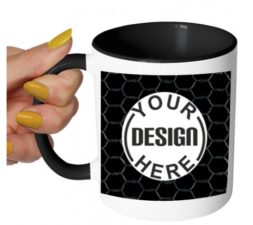 Two Tone Coffee Mug Black Pattern