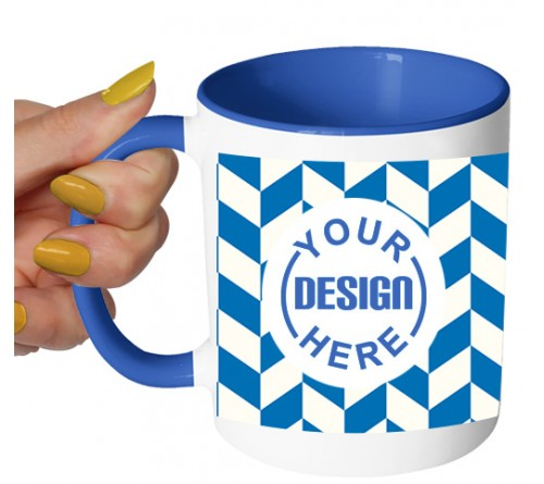 Dual Tone Coffee Mug Blue Pattern