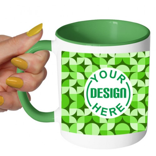 Dual Tone Coffee Mug Green Pattern