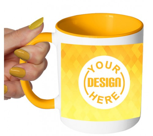 Dual Tone Coffee Mug Yellow Pattern