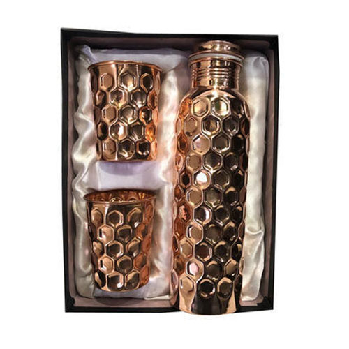 Diamond Cut Copper Bottle with 2 Copper Glass Set