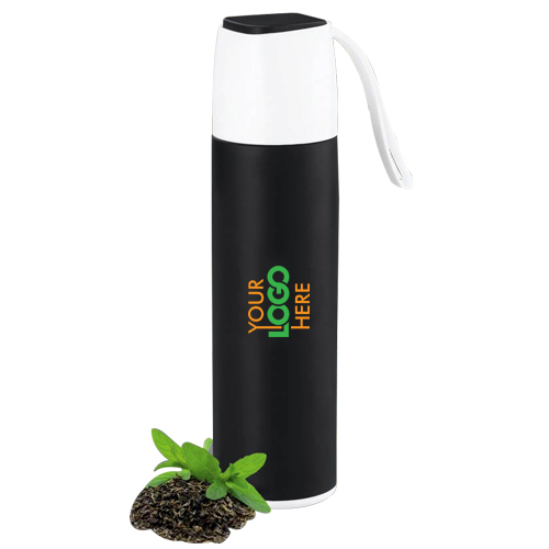 Slick Stainless Steel Vacuum Flask with silicon strap