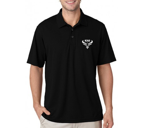 Embroidered Polo Dri Mesh T-Shirt Black