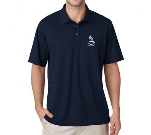 Embroidered Polo Dri Mesh T-Shirt Navy