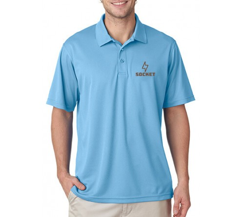 Embroidered Polo Dri Mesh T-Shirt Sky Blue