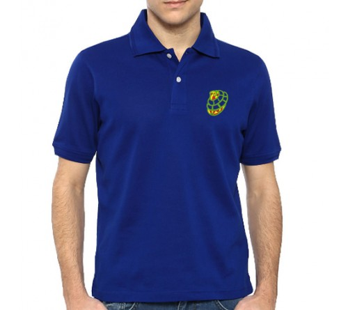 Embroidered Mix Cotton Polo T-Shirt Royal Blue